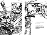 5-spread compilation of my rescue helicopter sequence line art thing