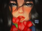 Mia Parks girl with roses 960x720x1