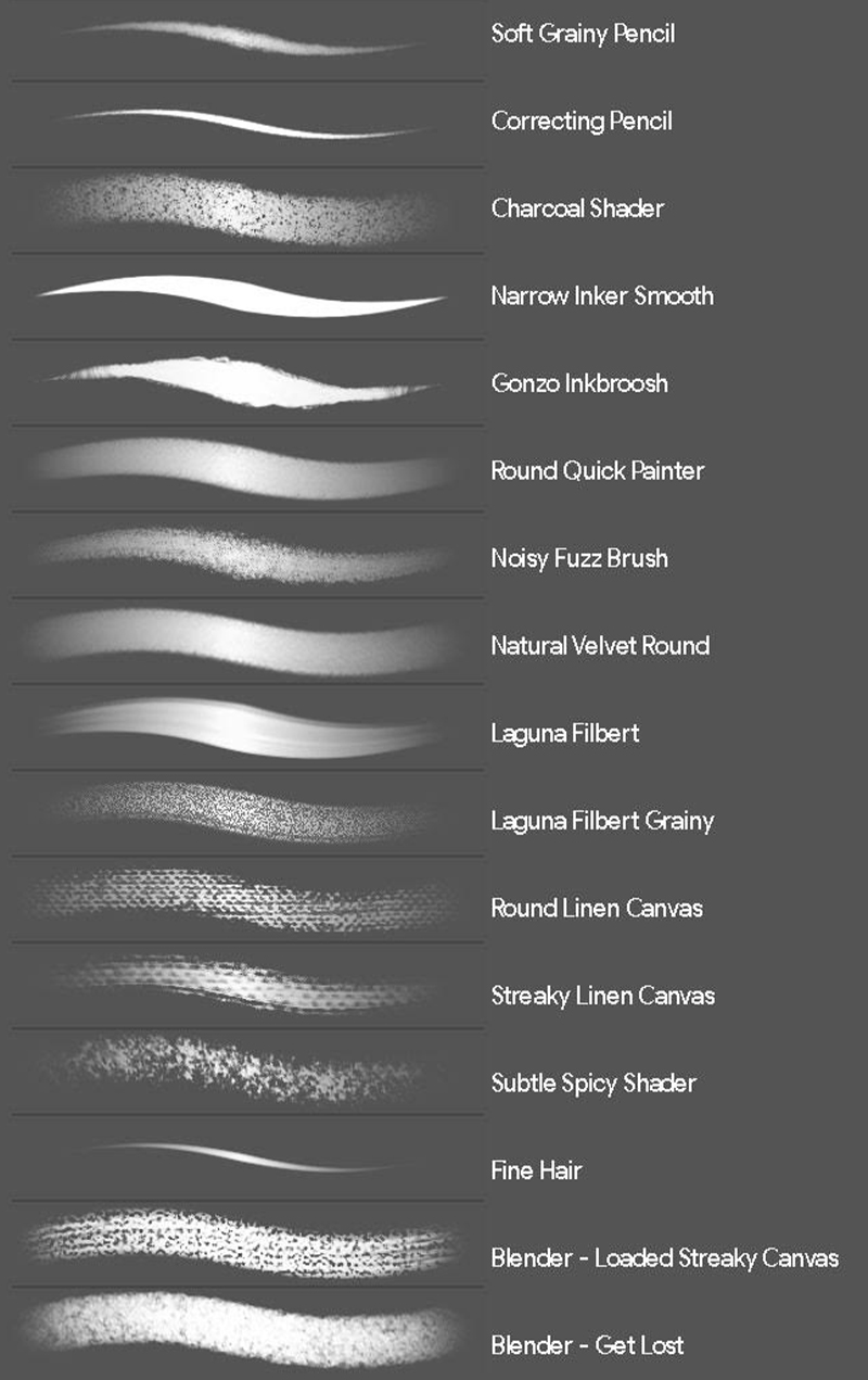 photoshop brushes included in package