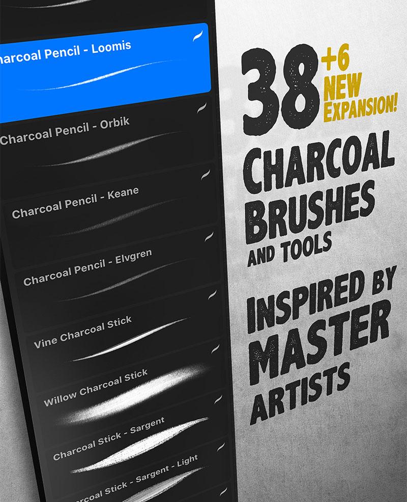 Lane Brown's Charcoal Procreate Brush Pack