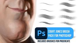 Court Jones Traditional Photoshop and Procreate Brush Pack
